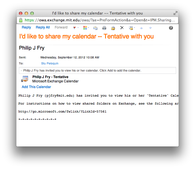 Calendar share email request