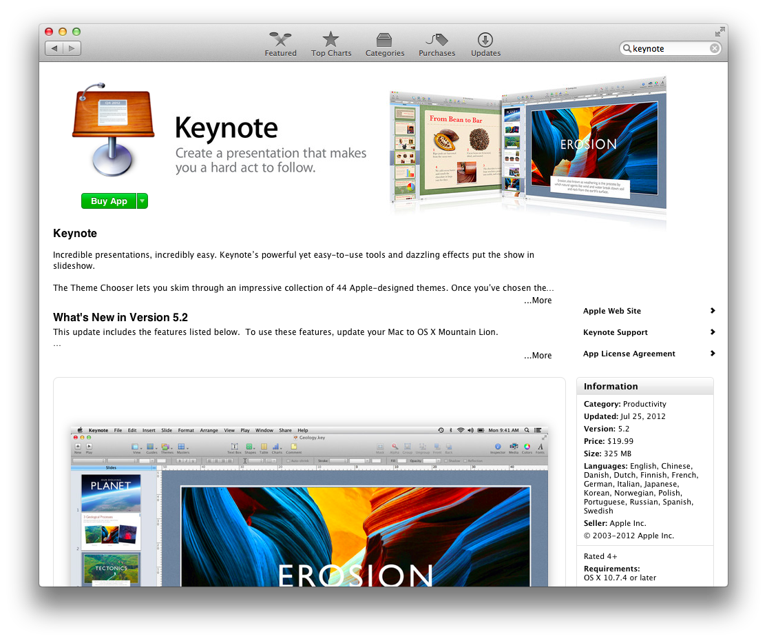 App store purchase page