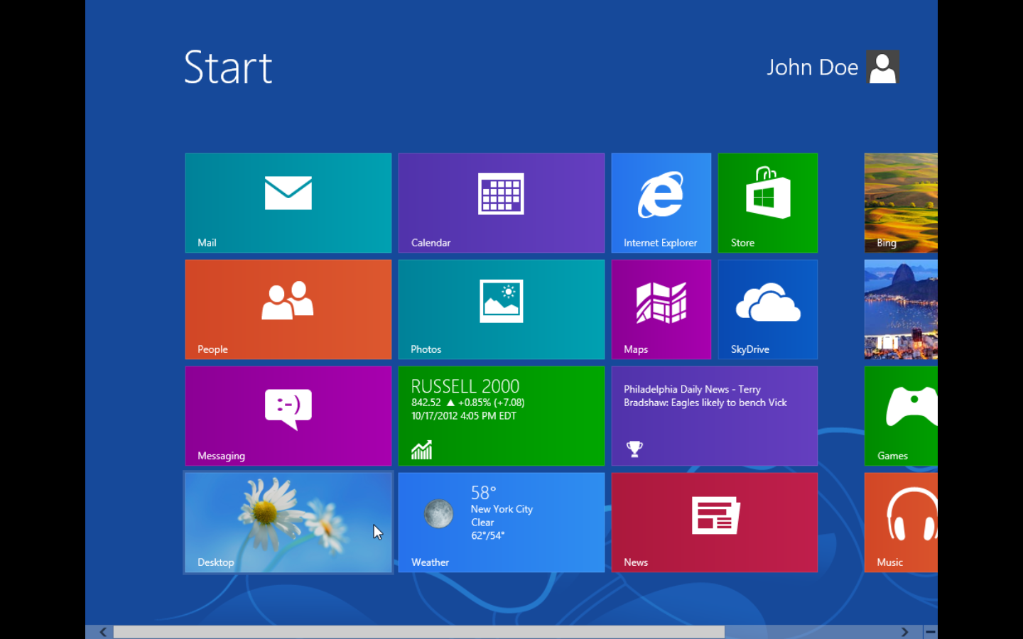 Windows 8 intro screen