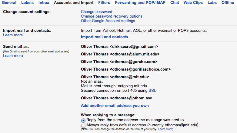 Gmail accounts screen