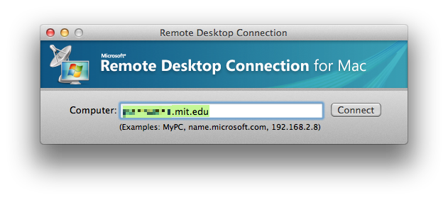 Microsoft Remote Desktop with hostname entered.
