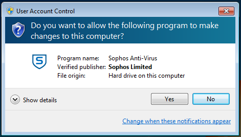 user account control message box