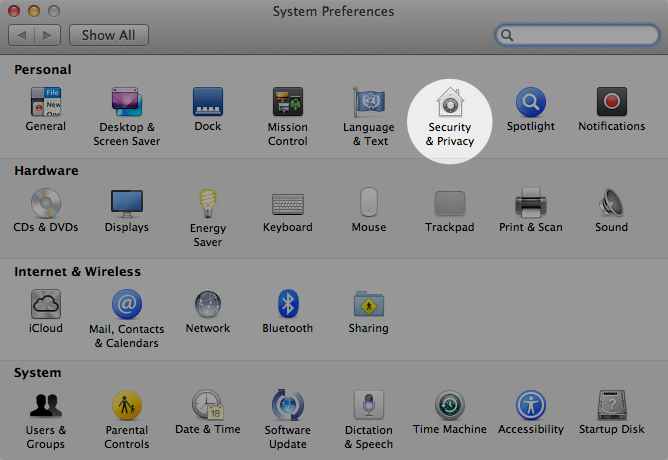 System preferences screen