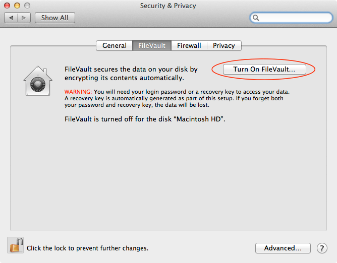 FileVault preferences screen