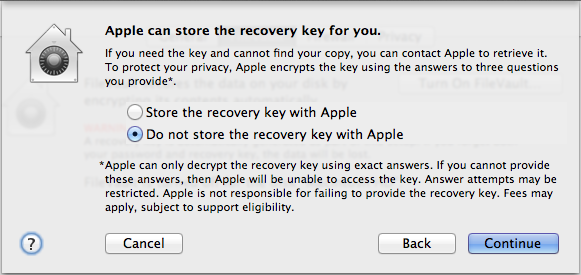 Apple recovery key storage message