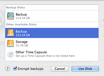 Select disk options