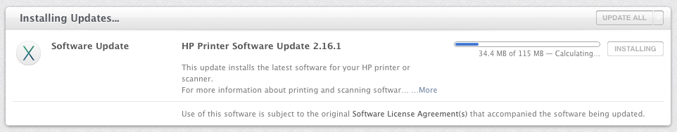 screenshot of applying HP Printer Update