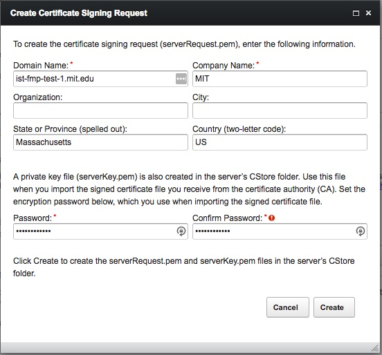 Create Certificate Signing Request Dialog #1