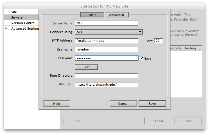 site settings dialog filled out