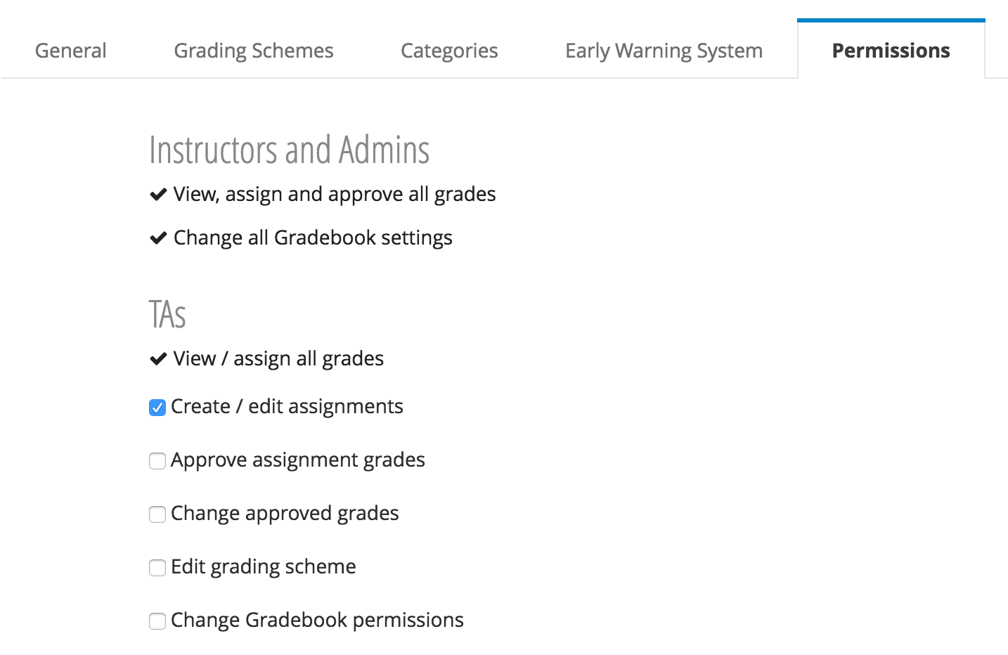 Approved grades permissions