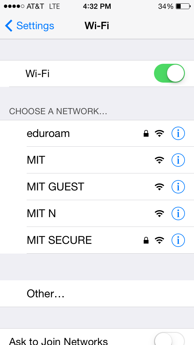 Wifi choose a network