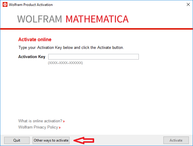 Mathematica Activation Screen