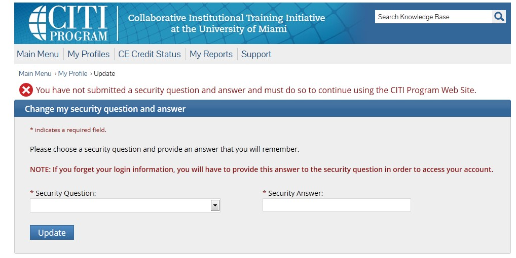 Security Question update page.  Enter security question in text box on the left and answer in text box to the right.  Press update once you have finished.