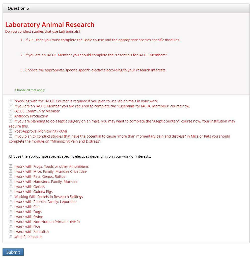 Question 6 section is displayed.  These are about Laboratory Animal Research.  Complete them according to your research.