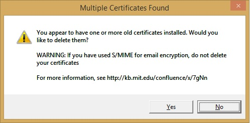 multiple certificates found screen