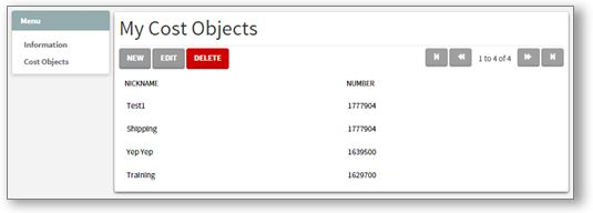 My Cost Objects tab.  You may edit the cost objects listed below
