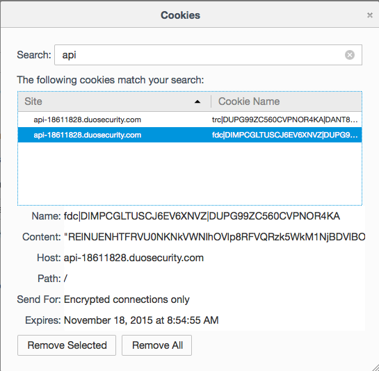 Firefox browser cookie inspection window