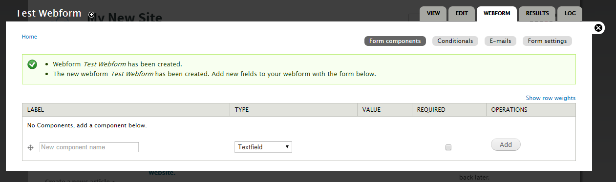 webform overlay screen