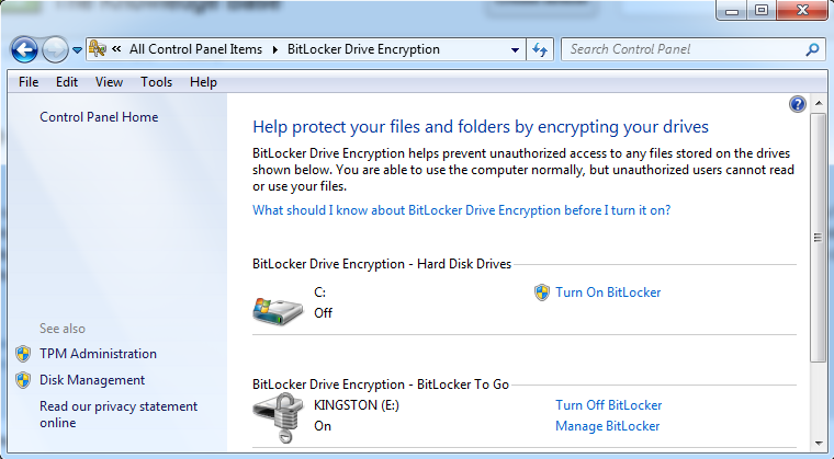 Click on Turn off BitLocker for USB
