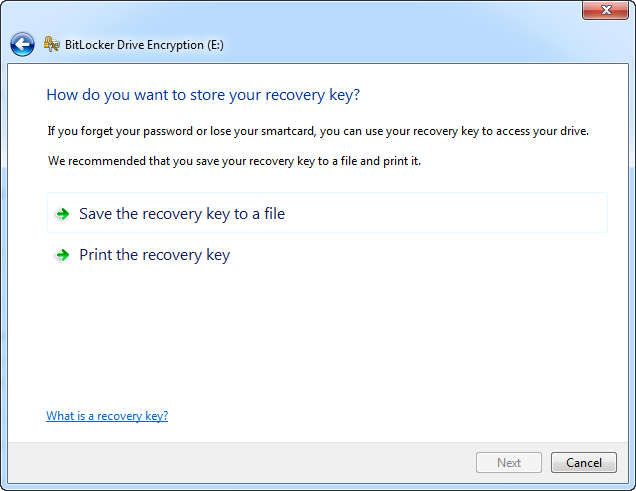 Choose to save recovery key