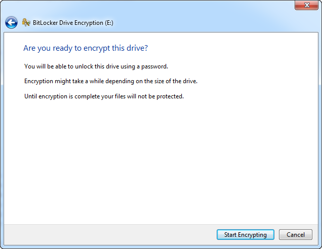 Click Start Encrypting