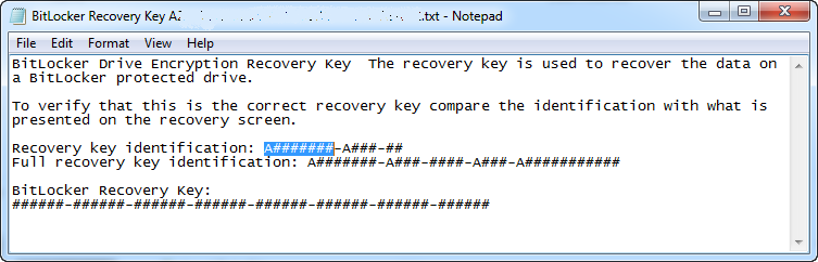 verify Id in recovery key file
