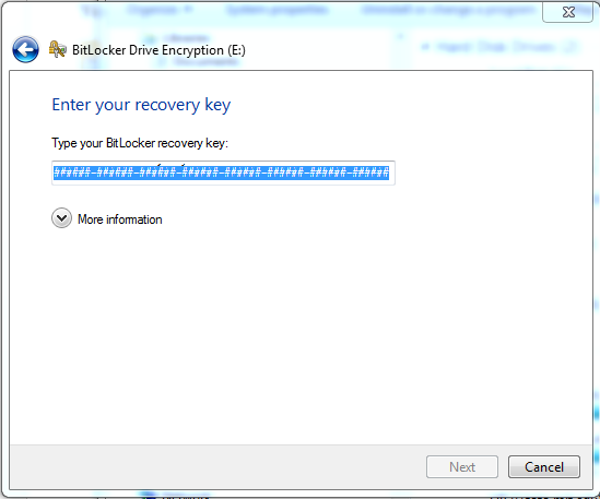 type recovery key in box