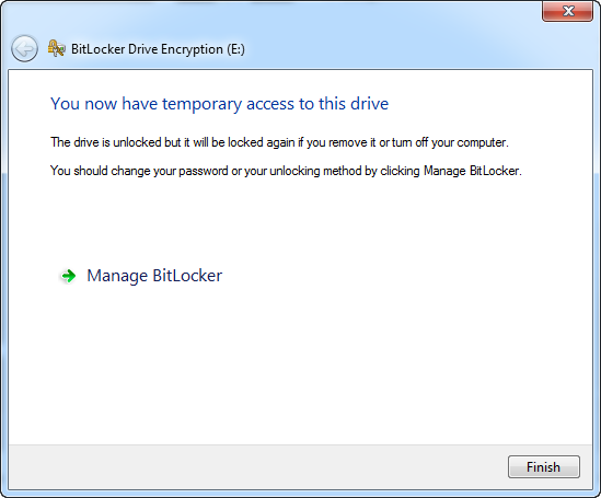 Click manage bitlocker