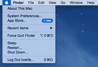 Apple > System preferences screen