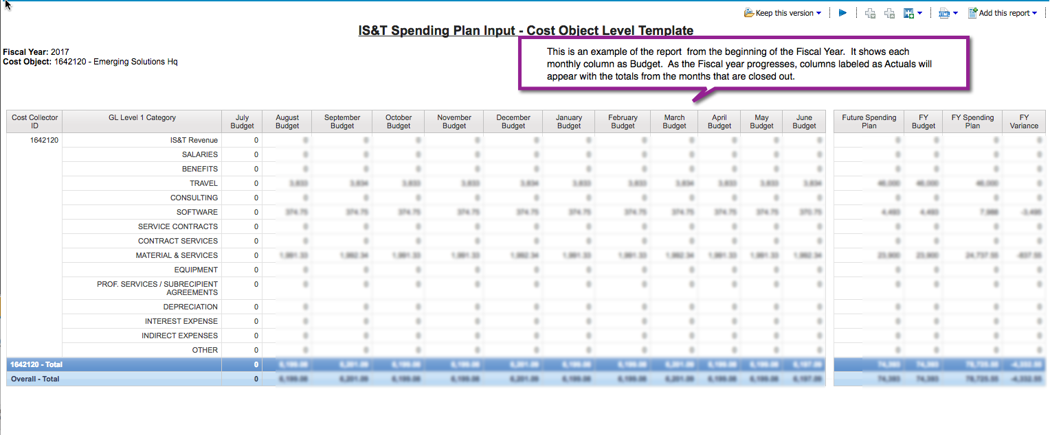 Sample Cost Object Level Template report