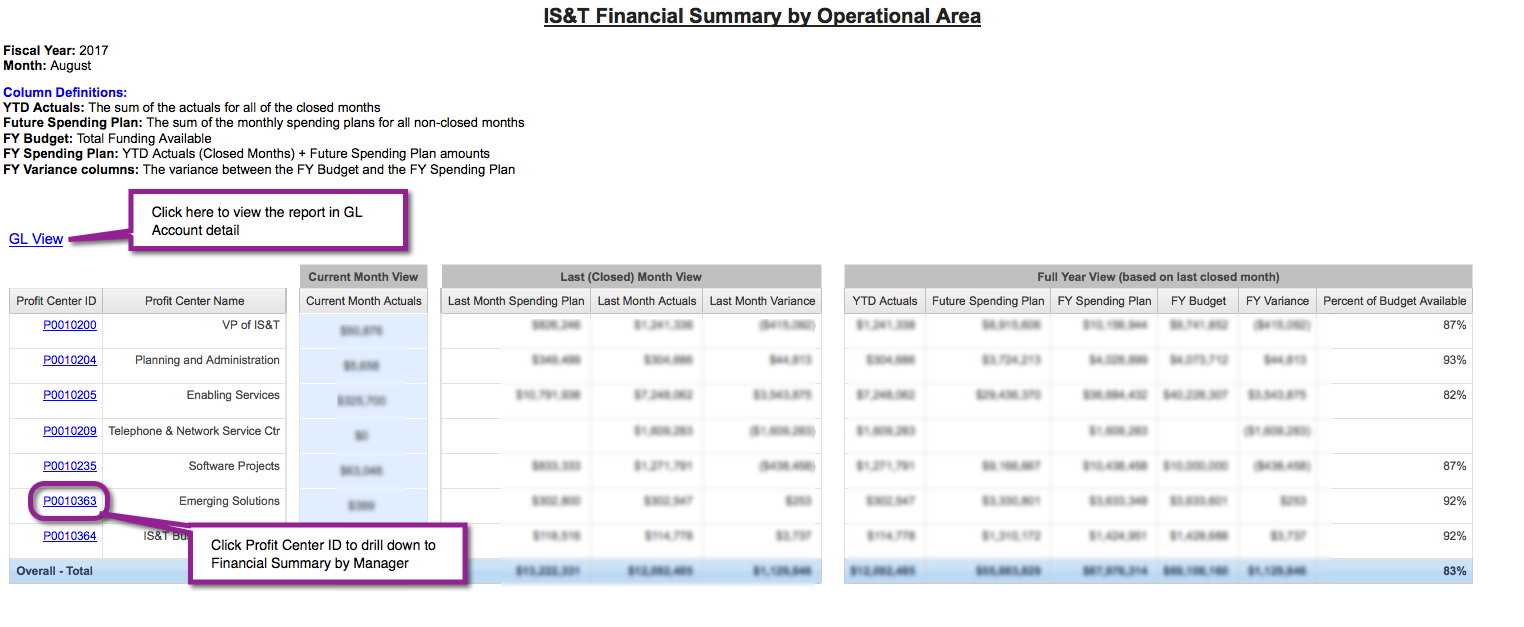 Local Financial Summary report for your area