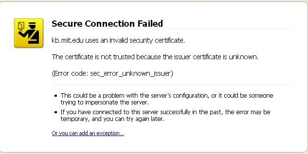 Secure connection error