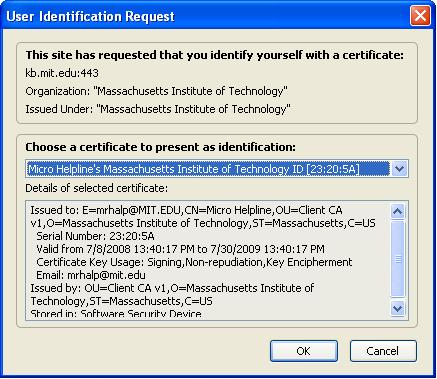 User identification request screen