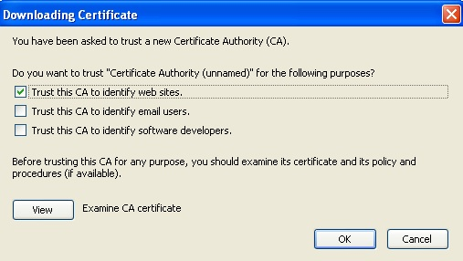 Trust new certificate authority screen