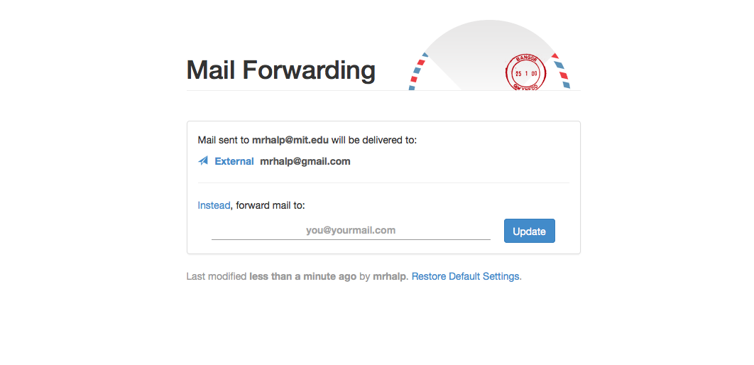 Mail Fowarding website with external email listed.