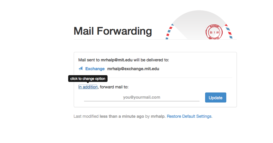 Mail Forwarding website with In addition selected.