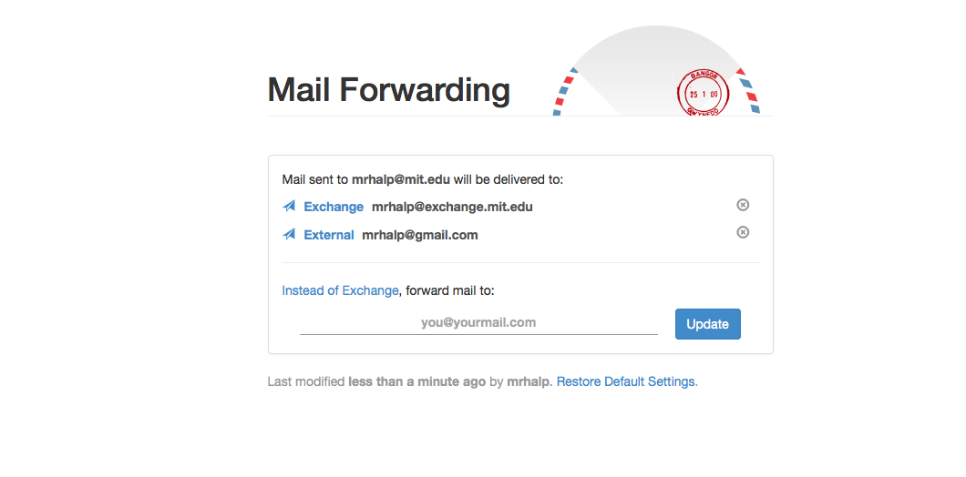 Mail Forwarding website with emails listed.