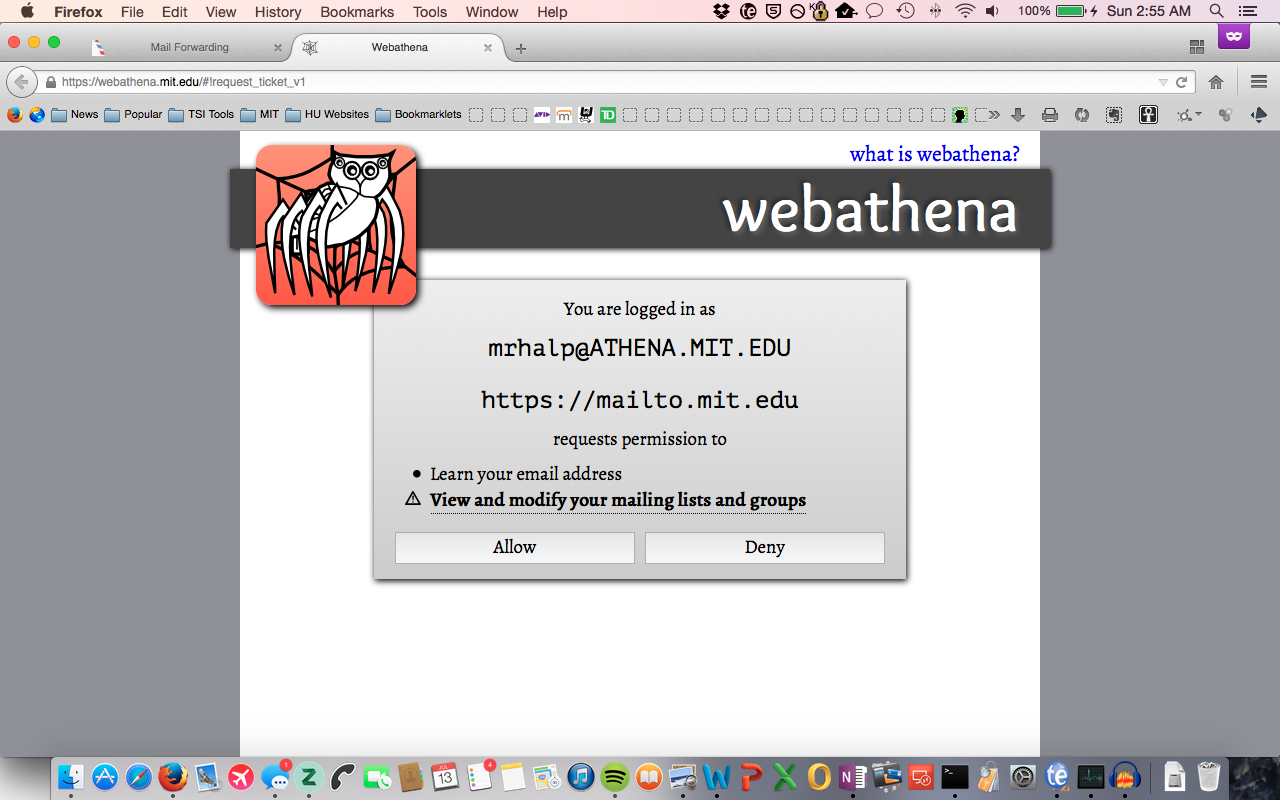 Request for permission for webathena to view email and mailing lists.