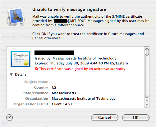 Mail.app - unable to verify message signature - Hermes