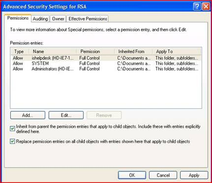 RSA advanced security settings window