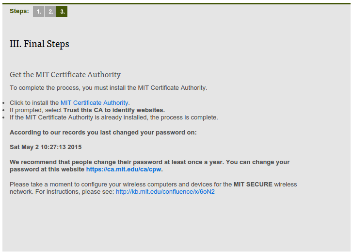 Third page of MIT's certificate website