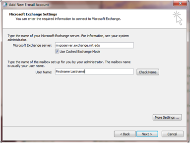 Microsoft exchange settings screen