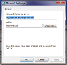 Check exchange server and mailbox screen