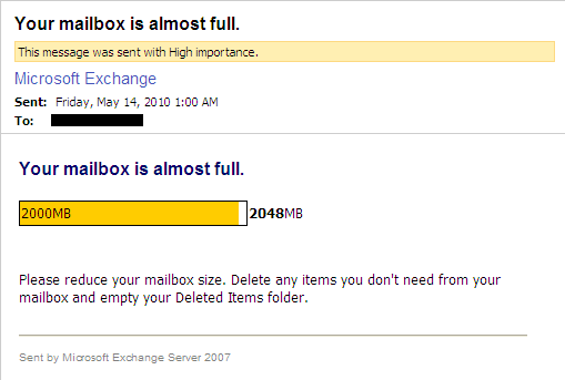 Your mailbox is almost full.  Please reduce your mailbox size.  Delete any items you don't need from your mailbox and empty your Deleted Items folder.