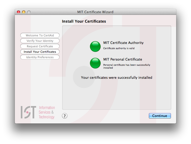 Install certificates screen