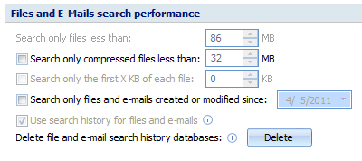 Files and email search options screen