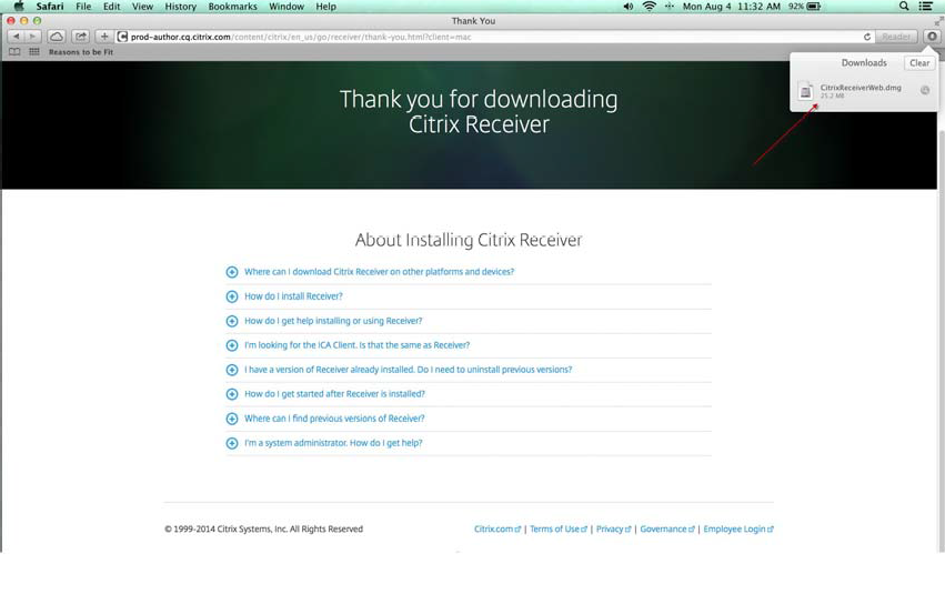 Citrix Receiver for Macintosh Installation and First Launch - Hermes