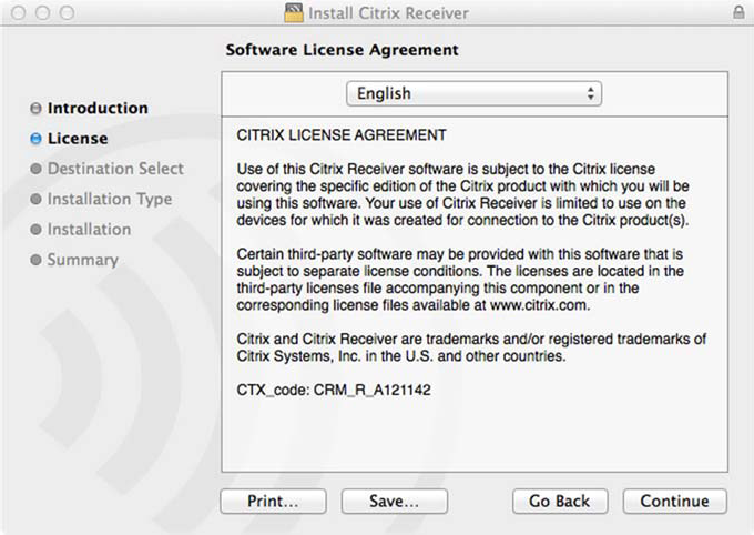 Citrix Receiver for Macintosh Installation and First Launch