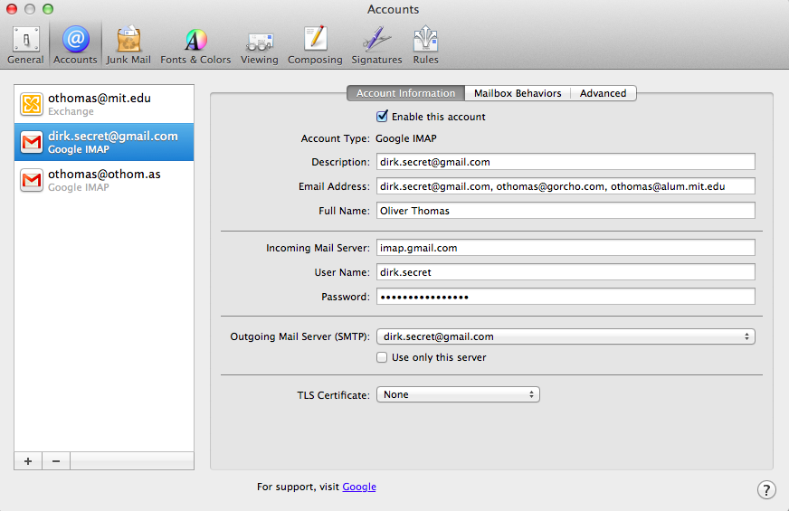 Apple mail account preferences