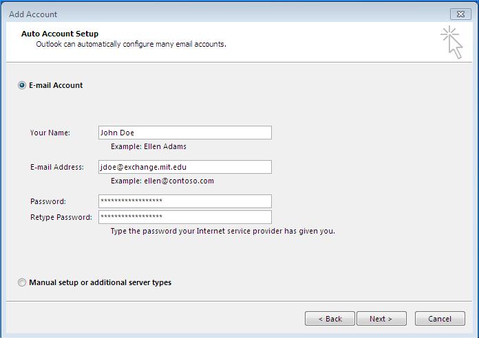 Tela de configuração de e-mail